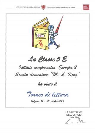 Diploma torneo di lettura 5E
